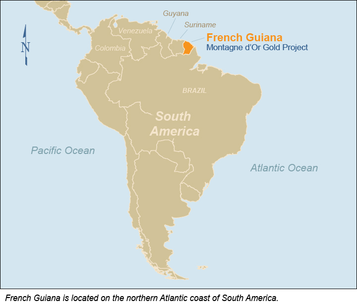 French Guiana in South America